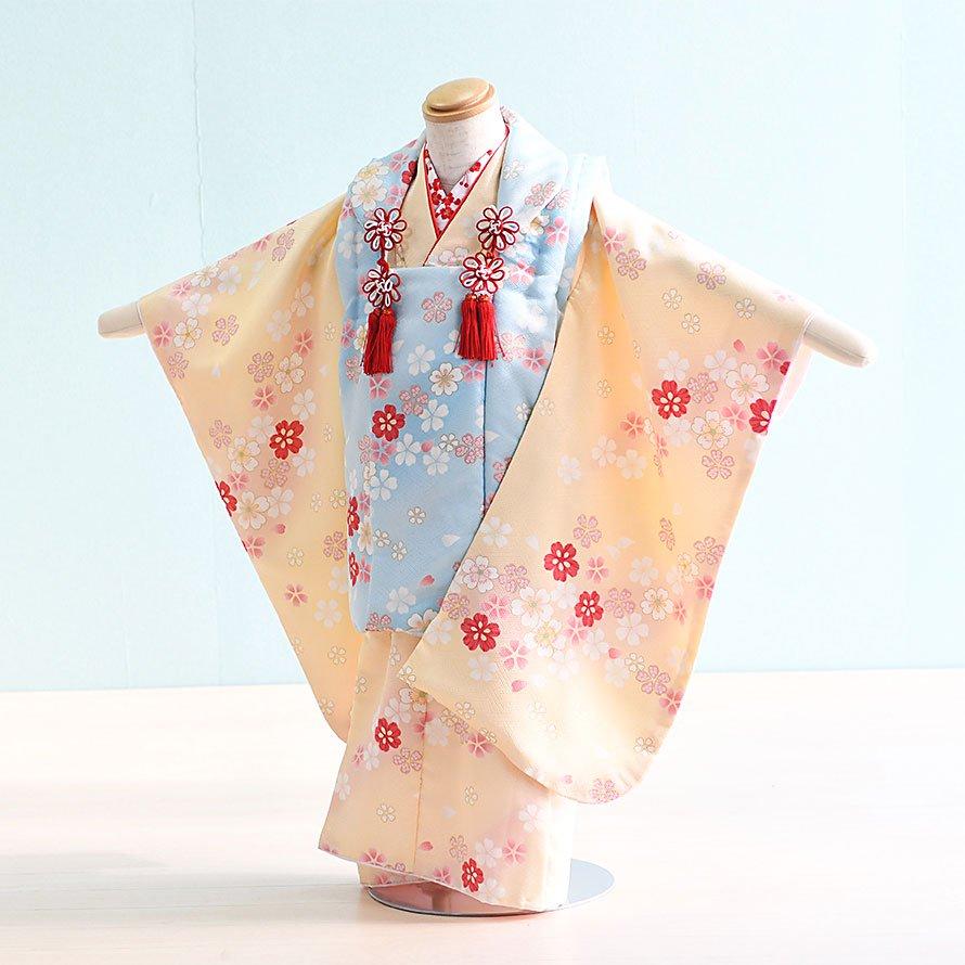 七五三着物三歳被布レンタルセット(3-27)クリーム・水色/桜