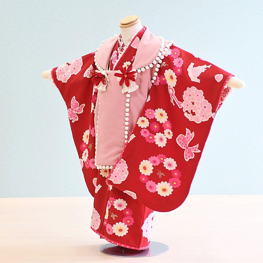 七五三着物三歳被布レンタルセット(3-32)赤・ピンク/花・リボン 松田聖子