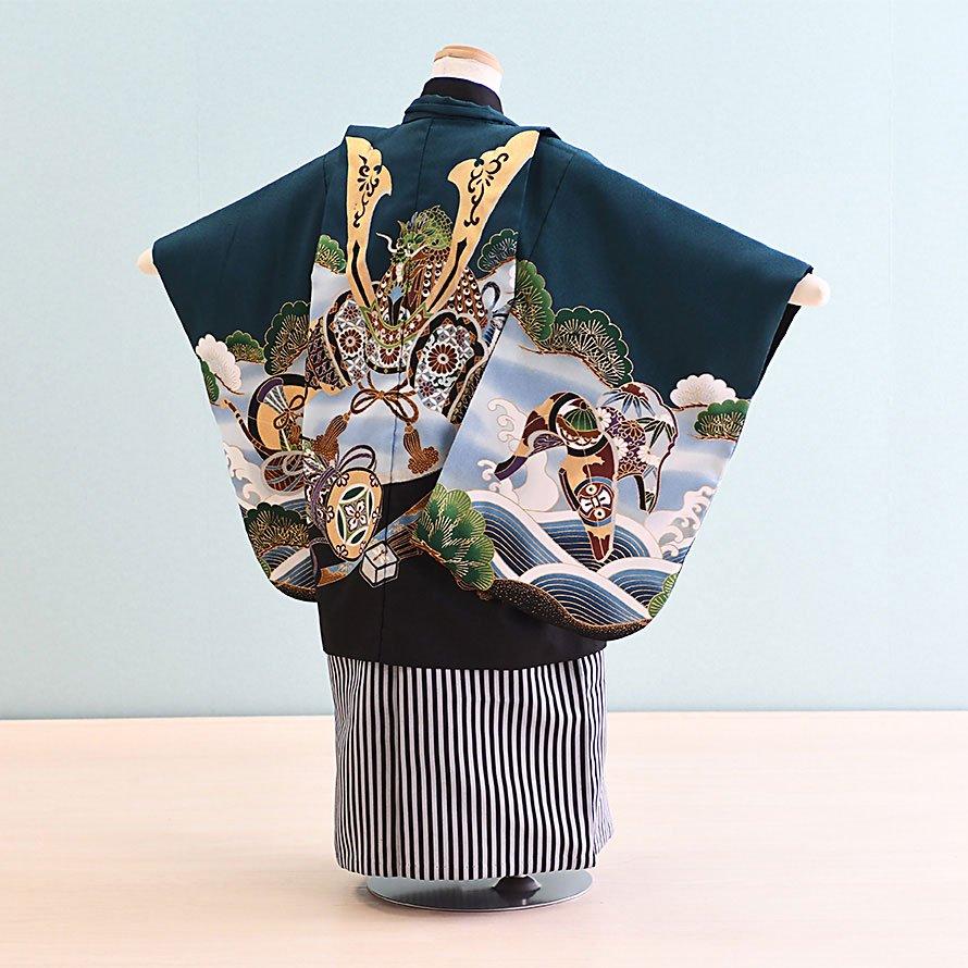 七五三着物五歳羽織袴レンタルセット(5-1)緑/かぶと 100/小さめ三歳も可