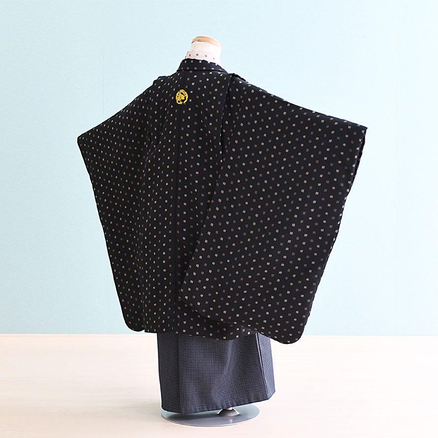 七五三着物五歳羽織袴レンタルセット(5-13)黒・ベージュ/無地 ジャパンスタイル