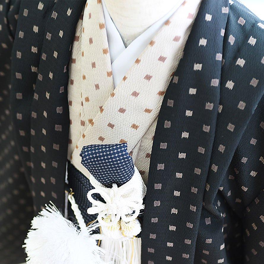 七五三着物五歳羽織袴レンタルセット(5-13)黒×ベージュ ジャパンスタイル