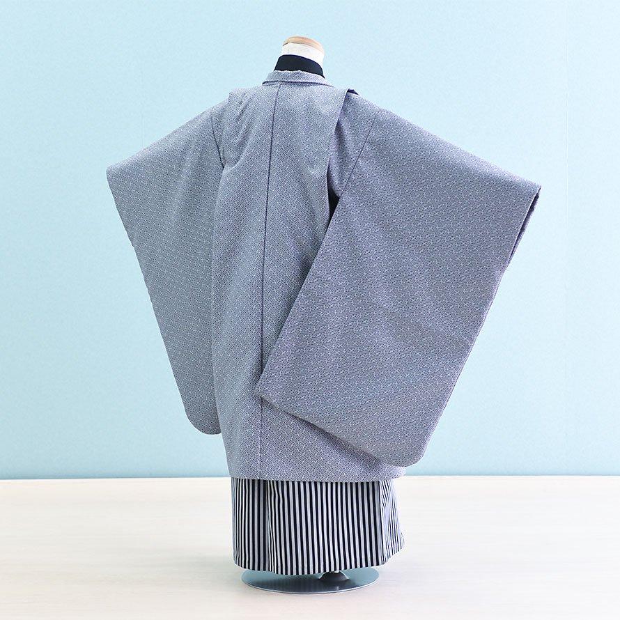七五三着物五歳羽織袴レンタルセット(5-14)紫グレー/無地