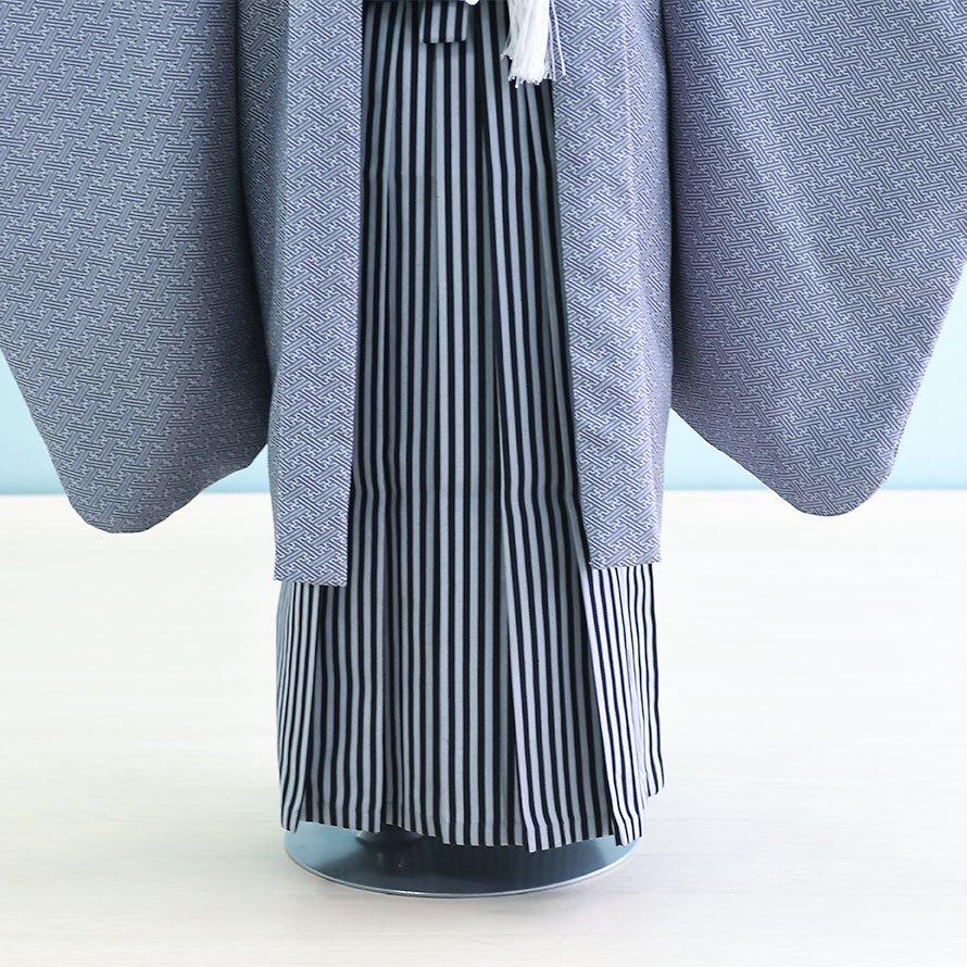 七五三着物五歳男の子レンタル(5-14)紫グレー/無地