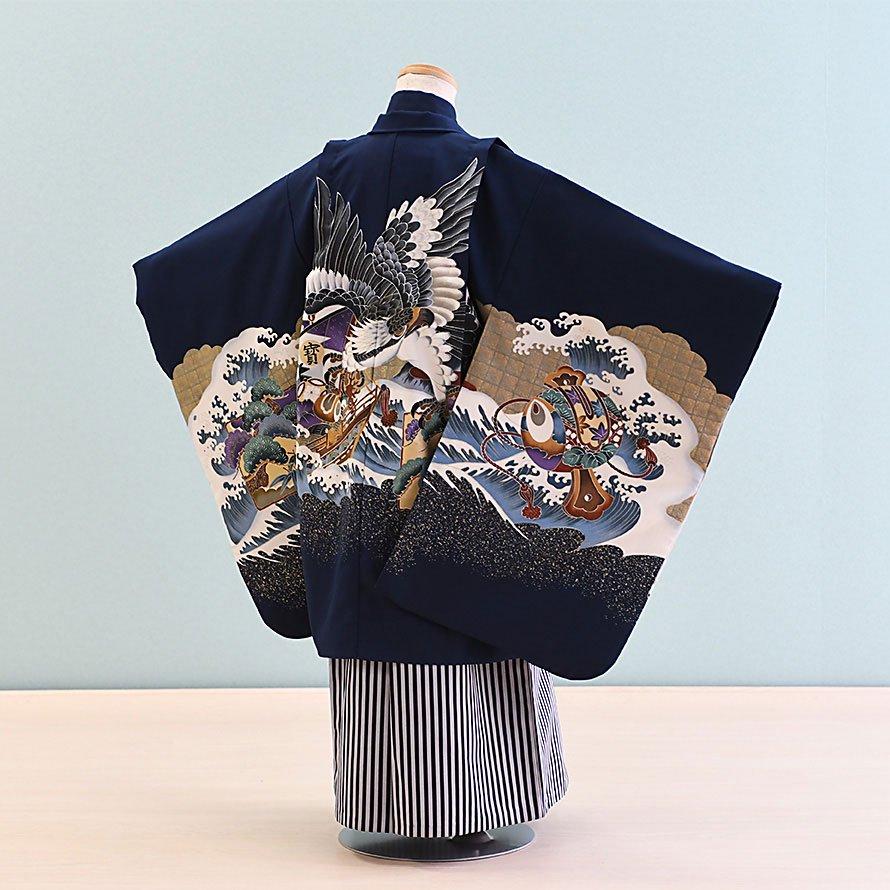 七五三着物五歳羽織袴レンタルセット(5-16)紺/鷹