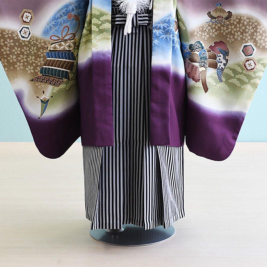 七五三着物五歳男の子レンタル(5-20)紫/かぶと