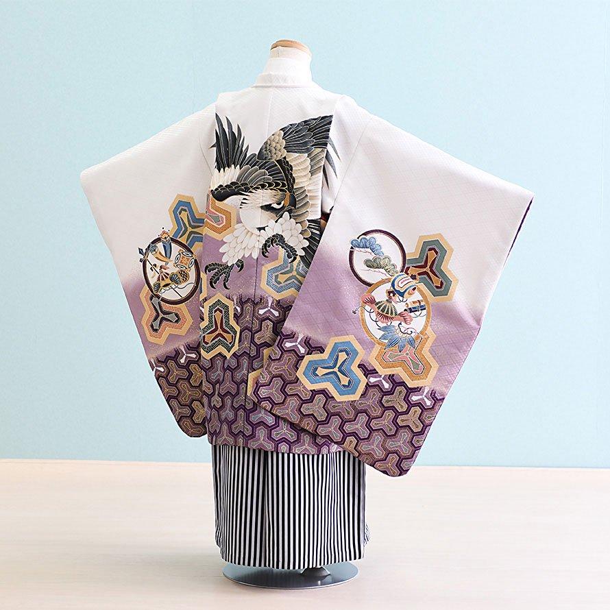 七五三着物五歳羽織袴レンタルセット(5-22)白×紫/鷹