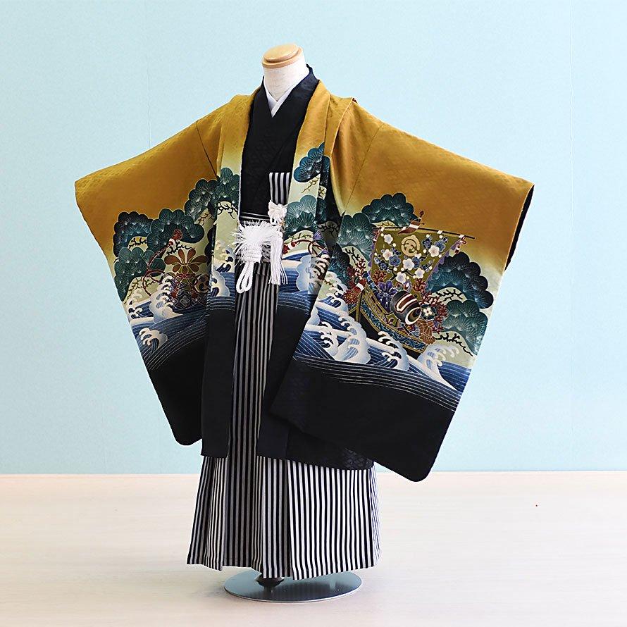 七五三着物五歳羽織袴レンタルセット(5-28)カラシ×黒/宝船