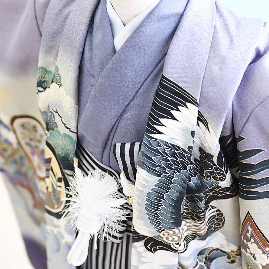 七五三着物五歳羽織袴レンタルセット(5-31)うす紫/かぶと