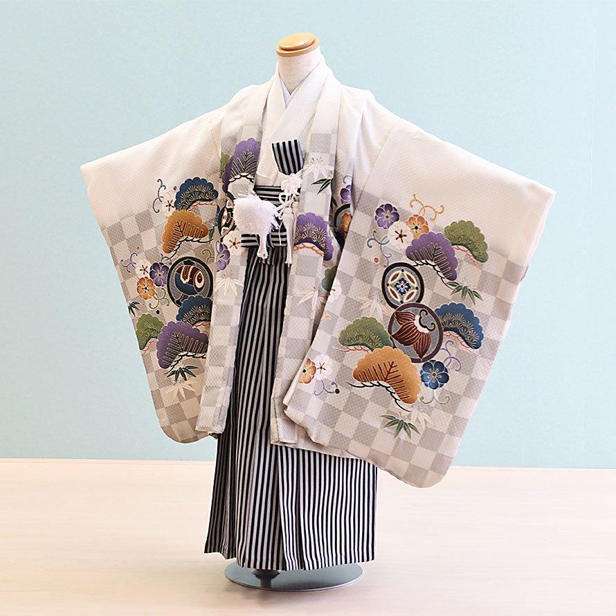七五三着物五歳羽織袴レンタルセット(5-32)白/市松・かぶと