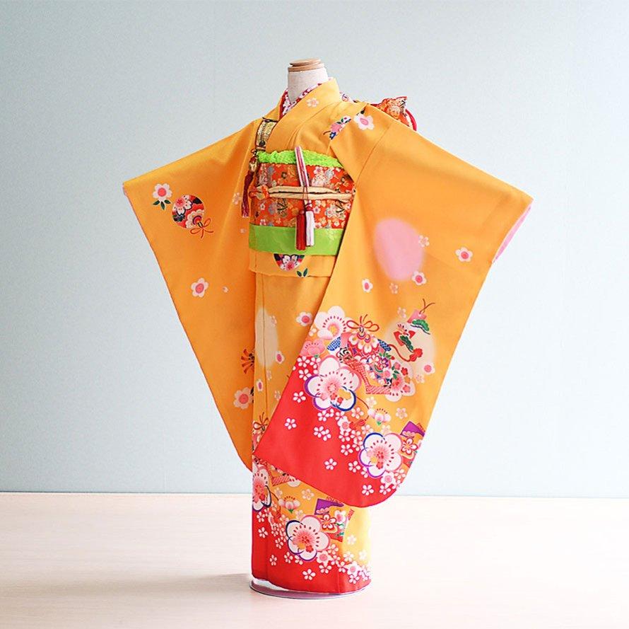七五三着物七歳お祝着レンタルセット(7-2)黄/まり・梅