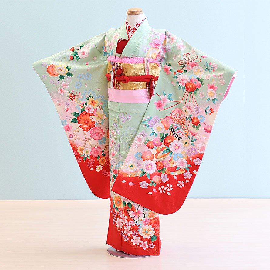 七五三着物七歳お祝着レンタルセット(7-14)うす緑/蝶・まり・花