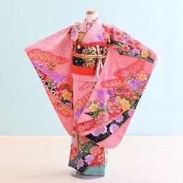 七五三着物七歳女の子レンタル(7-17)ピンク/熨斗・花・絞り