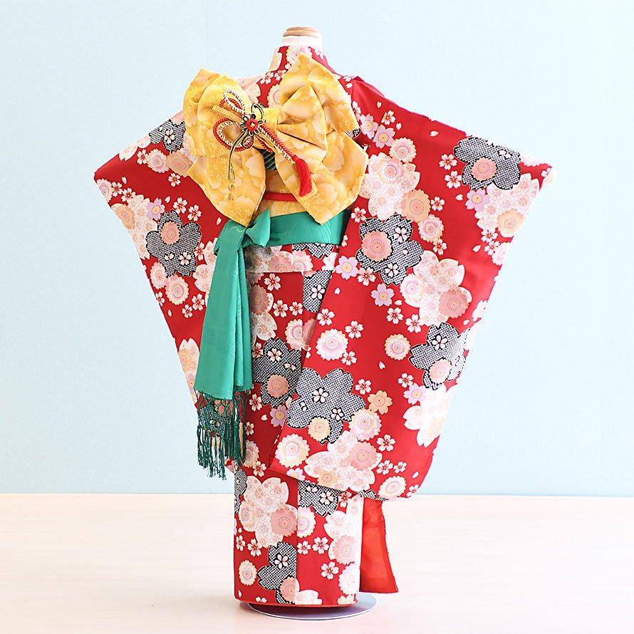 七五三着物七歳お祝着レンタルセット(7-19)赤/桜 ファンタジー