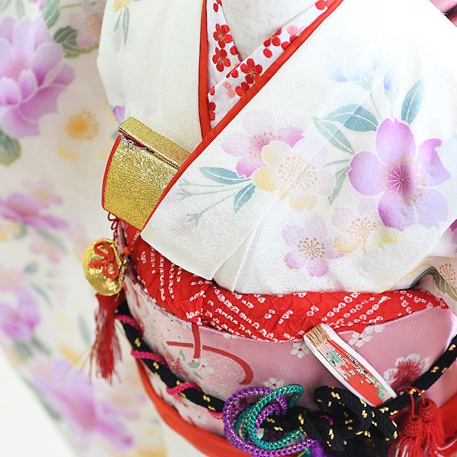 七五三着物七歳お祝着レンタルセット(7-33)白/花 ひさかたろまん みに