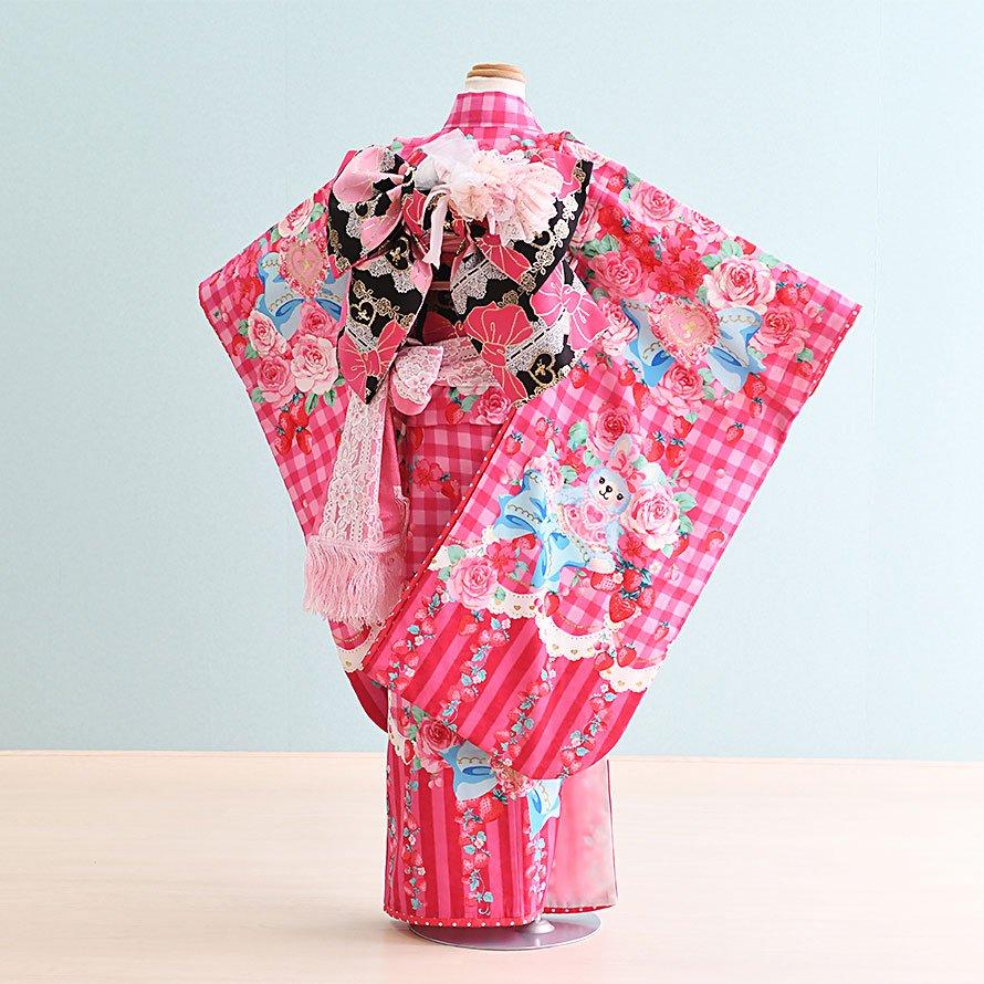 七五三着物七歳お祝着レンタルセット(7-44)ピンク/チェック・リボン マツダセイコ