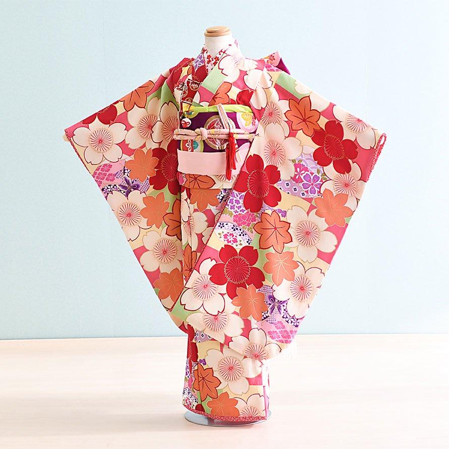 七五三着物七歳女の子レンタル(7-42)ピンク・オレンジ/桜・もみじ 乙葉