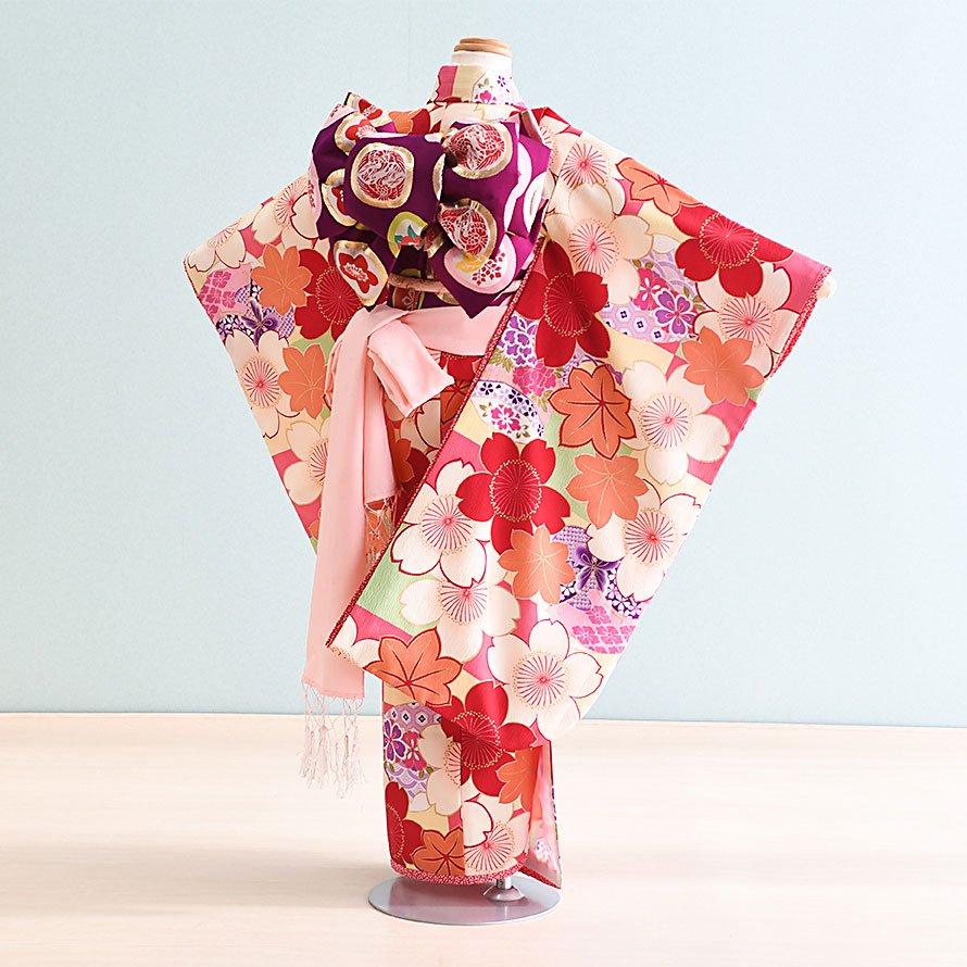 七五三着物七歳お祝着レンタルセット(7-42)ピンク・オレンジ/桜・もみじ 乙葉