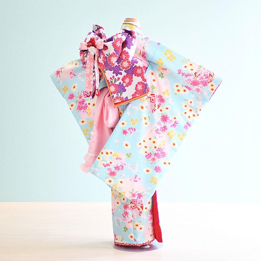 七五三着物七歳お祝着レンタルセット(7-38)水色/花・まり 式部浪漫