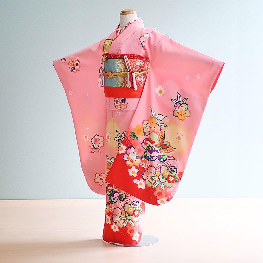 七五三着物七歳女の子レンタル(7-3)ピンク/桜・蝶