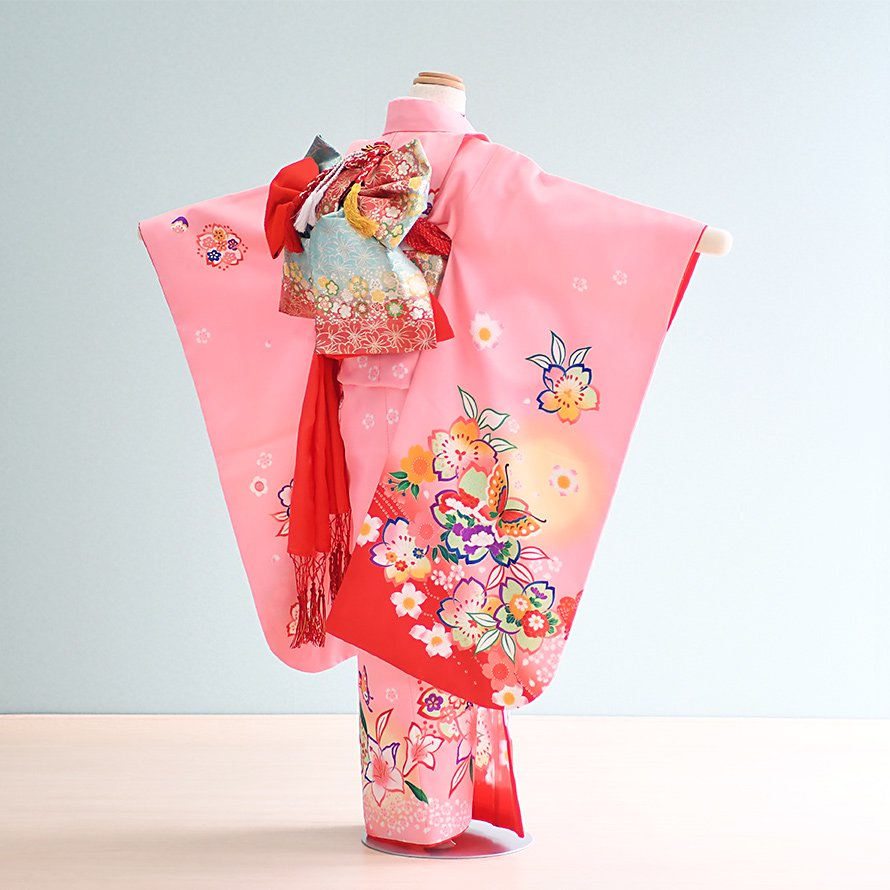 七五三着物七歳お祝着レンタルセット(7-3)ピンク/桜・蝶