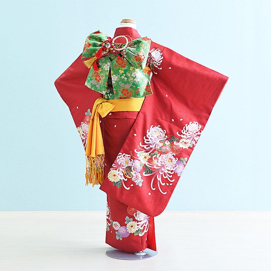 七五三着物七歳お祝着レンタルセット(7-28)ワイン/菊・鈴