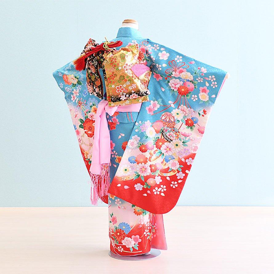 七五三着物七歳女の子レンタル(7-11)水色/花