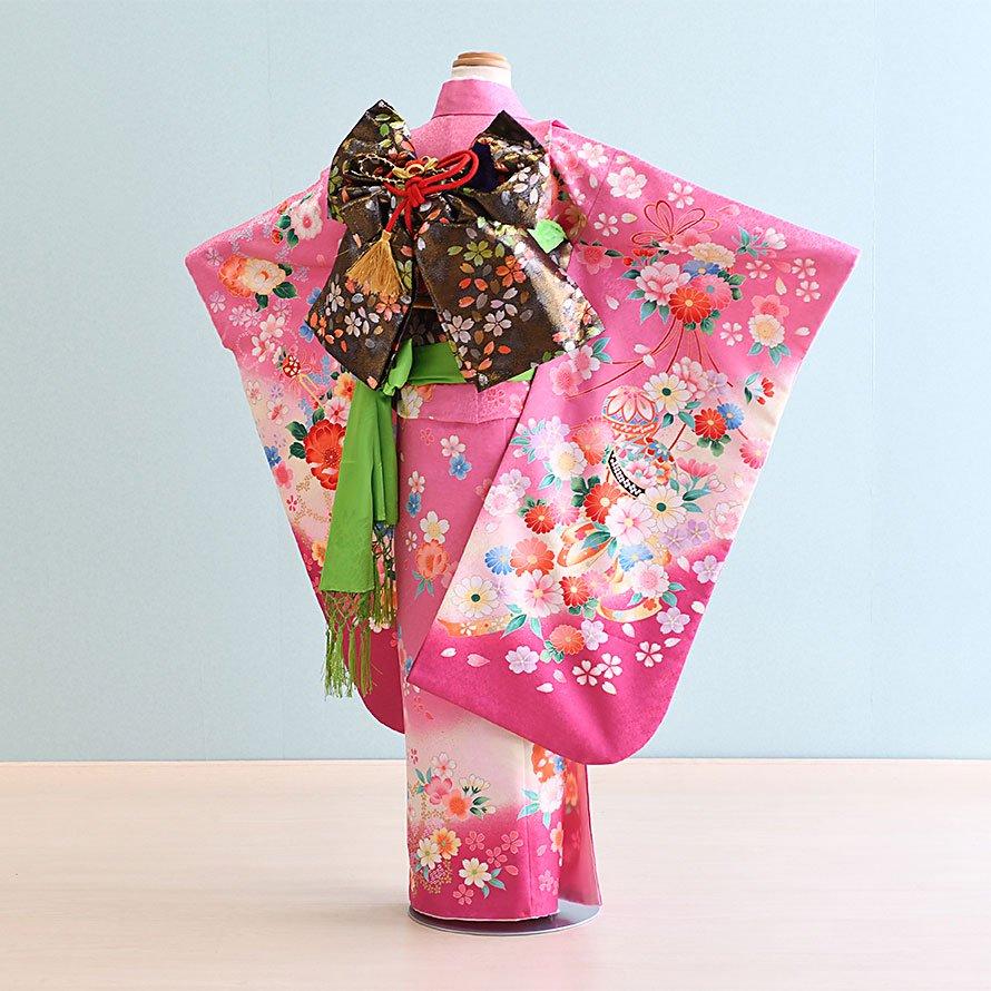 七五三着物七歳お祝着レンタルセット(7-12)紫ピンク/花・まり