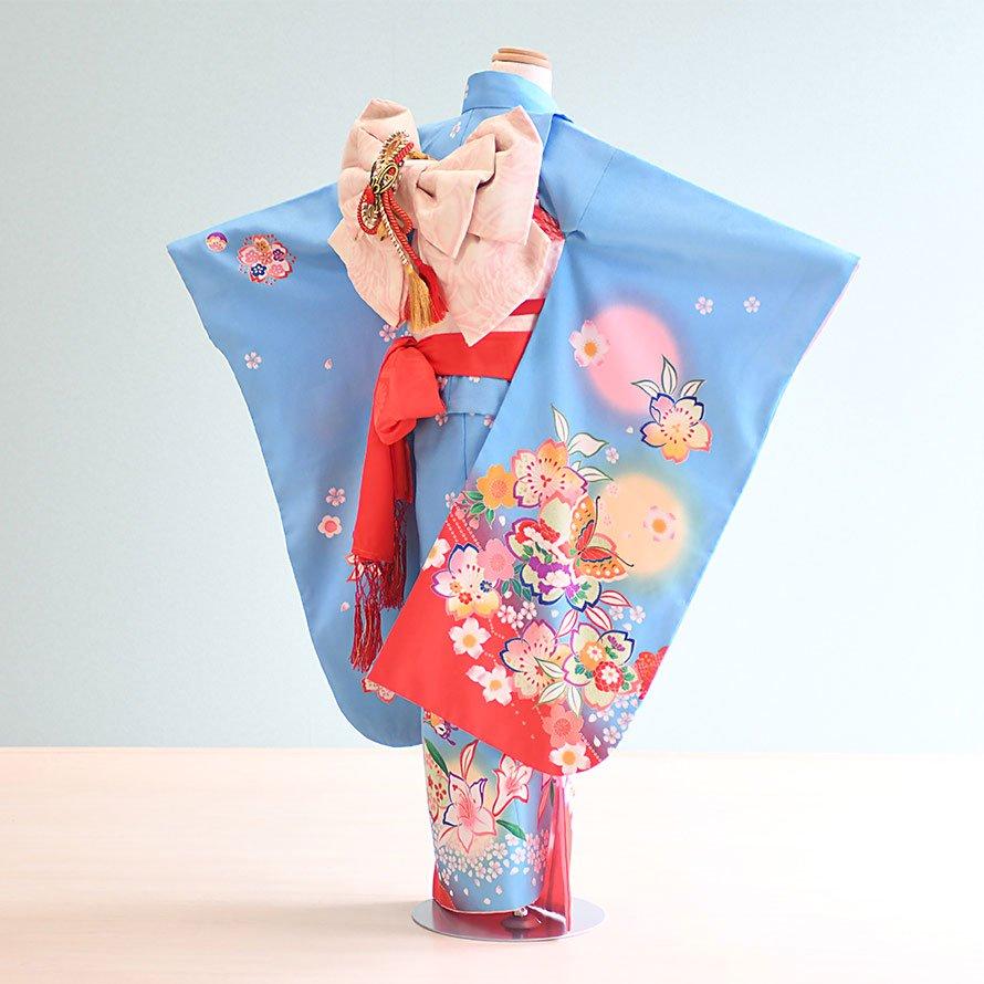 七五三着物七歳お祝着レンタルセット(7-1)水色/桜・蝶