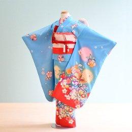 七五三着物七歳女の子レンタル(7-1)水色/桜・蝶