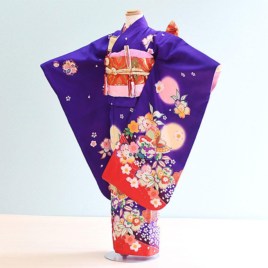 七五三着物七歳お祝着レンタルセット(7-6)紫/桜・蝶