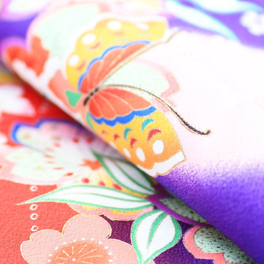 七五三着物七歳女の子レンタル(7-6)紫/桜・蝶
