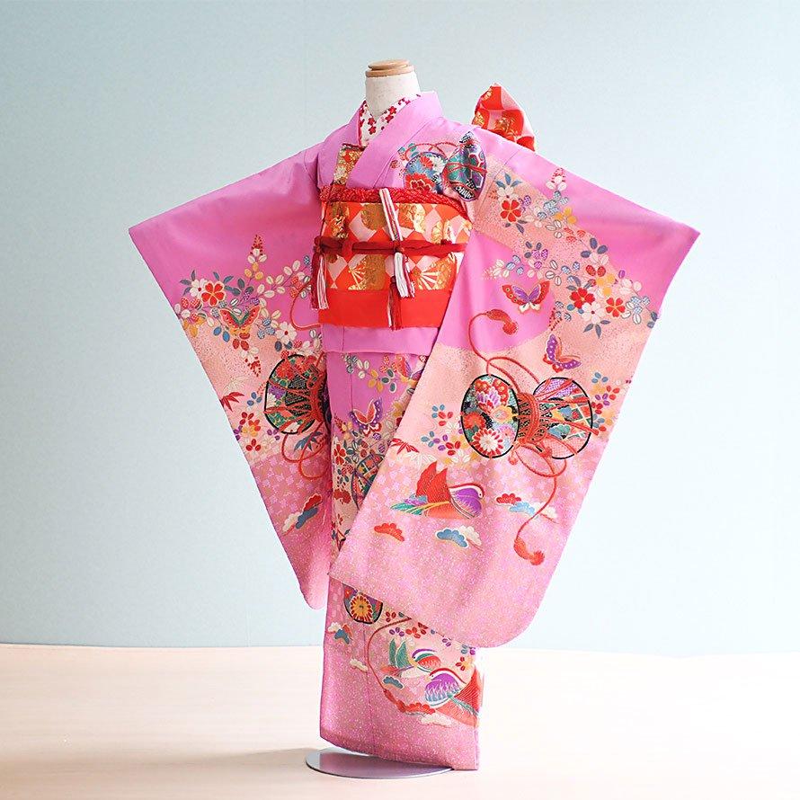七五三着物七歳お祝着レンタルセット(7-5)うす紫/つづみ