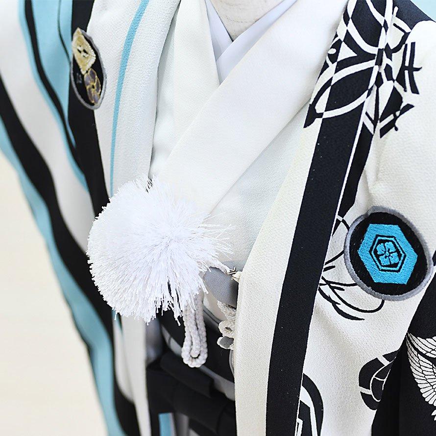 七五三着物五歳羽織袴レンタルセット(5-36)水色×白 ジャパンスタイル×つるの剛士 100/小さめ三歳も可