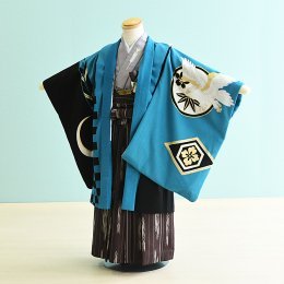 七五三着物五歳男の子レンタル(5-40)青×黒/和柄 ジャパンスタイル×照英