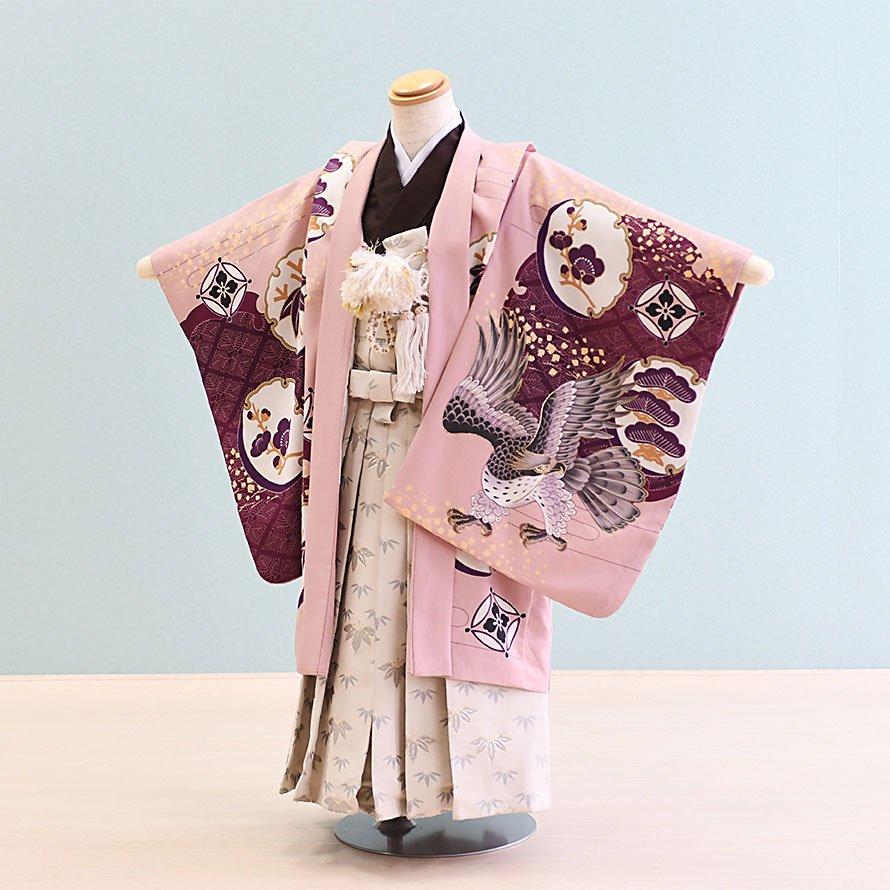 七五三着物五歳羽織袴レンタルセット(5-35)薄紫×茶/鷹 乙葉 100/小さめ三歳も可
