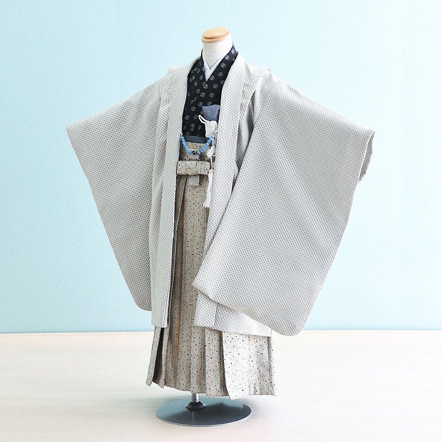 七五三着物五歳羽織袴レンタルセット(5-25)白/縞 ひさかたろまん みに