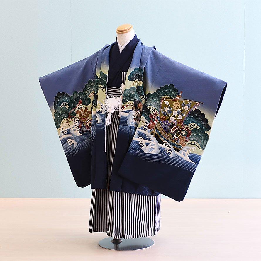 七五三着物五歳羽織袴レンタルセット(5-27)青紫/宝船