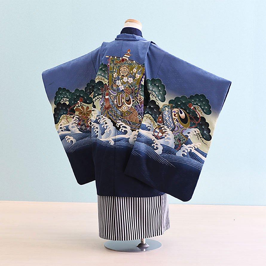 七五三着物五歳羽織袴レンタルセット(5-27)青・紺×紺/宝船