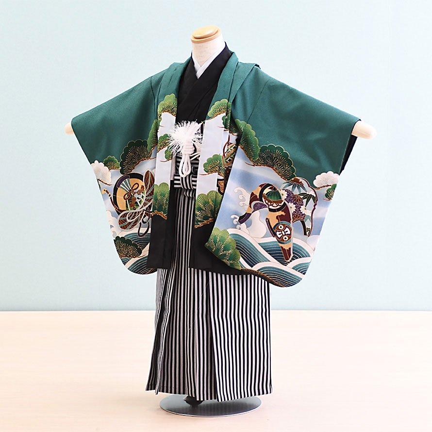七五三着物五歳羽織袴レンタルセット(5-7)緑/鷹 100/小さめ三歳も可