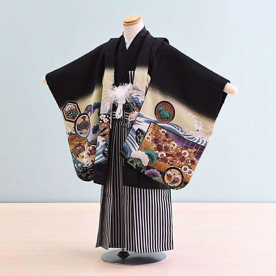 七五三着物五歳羽織袴レンタルセット(5-11)黒/たか 100/小さめ三歳も可