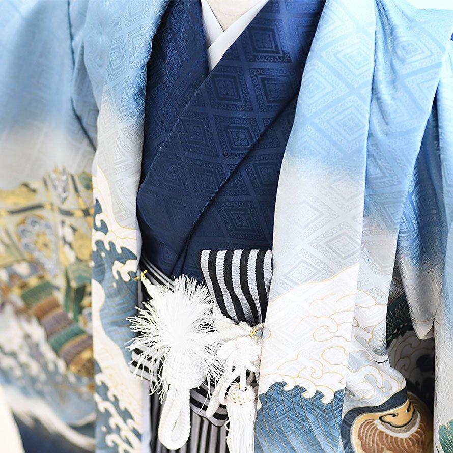 七五三着物五歳羽織袴レンタルセット(5-21)水色/かぶと