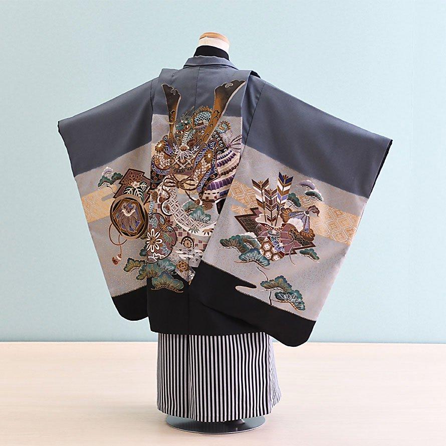 七五三着物五歳羽織袴レンタルセット(5-6)グレー/かぶと