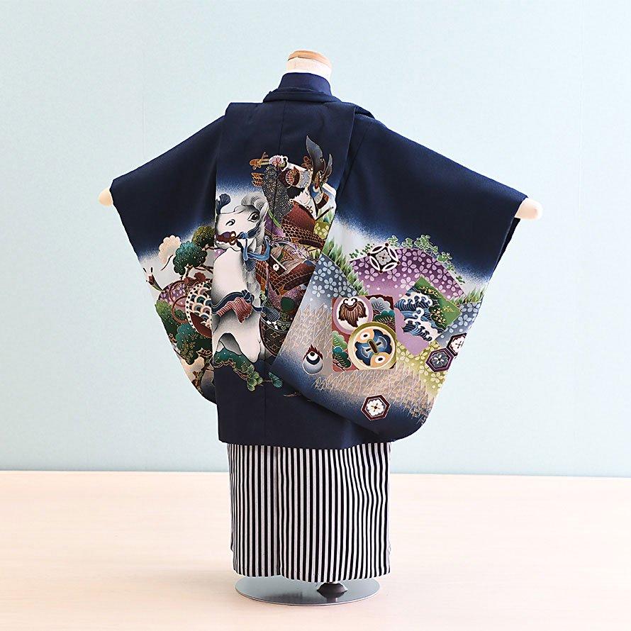 七五三着物五歳羽織袴レンタルセット(5-2)紺/馬 100/小さめ三歳も可