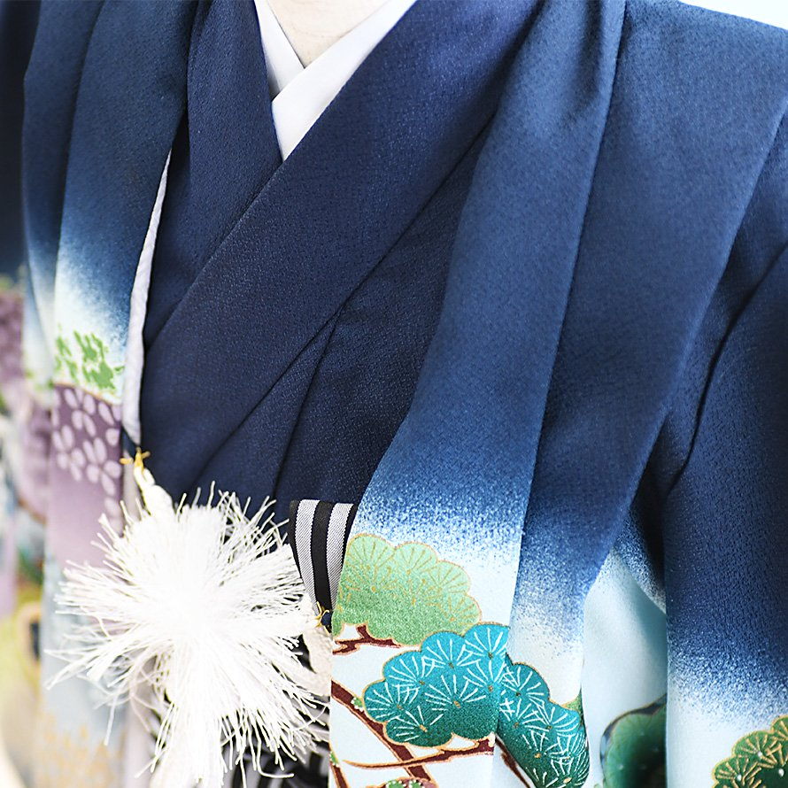 七五三着物五歳男の子レンタル(5-2)100/小さめ 紺/馬