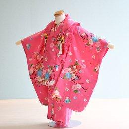 七五三着物三歳女の子レンタル(3-1)ピンク/桜・蝶・まり