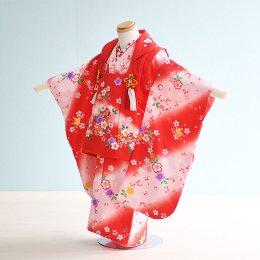 七五三着物三歳女の子レンタル(3-6)赤×ピンク/花・まり