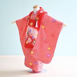 七五三着物三歳女の子レンタル(3-12)赤/花・まり・絞り