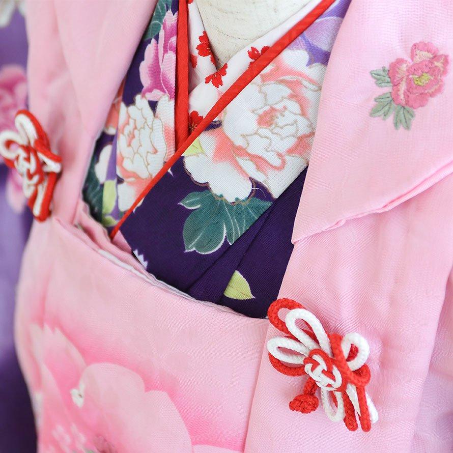 七五三着物三歳被布レンタルセット(3-14)紫×ピンク/花 キクチリョウコ