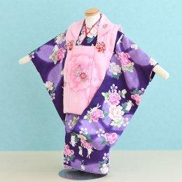 七五三着物三歳女の子レンタル(3-14)紫・ピンク/花 キクチリョウコ