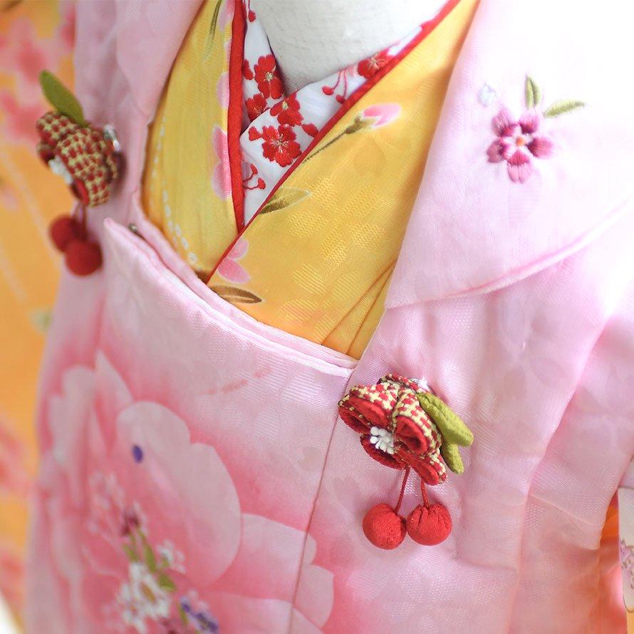 七五三着物三歳被布レンタルセット(3-15)黄・ピンク/花 キクチリョウコ